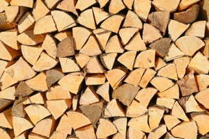 Chipped fire wood